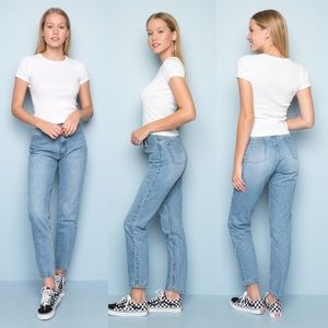 J. Galt Button Fly Mom Jeans Light Wash Tapered